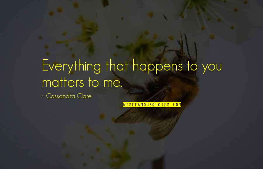 Me Love You Quotes By Cassandra Clare: Everything that happens to you matters to me.
