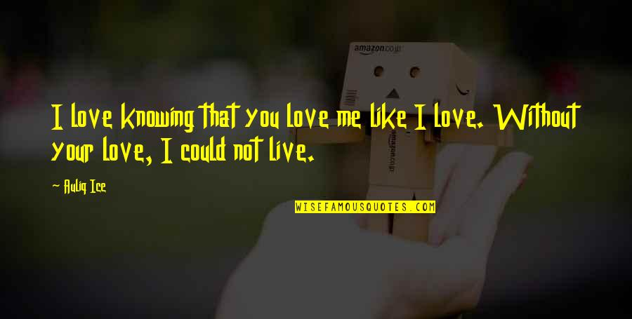 Me Without You Love Quotes By Auliq Ice: I love knowing that you love me like