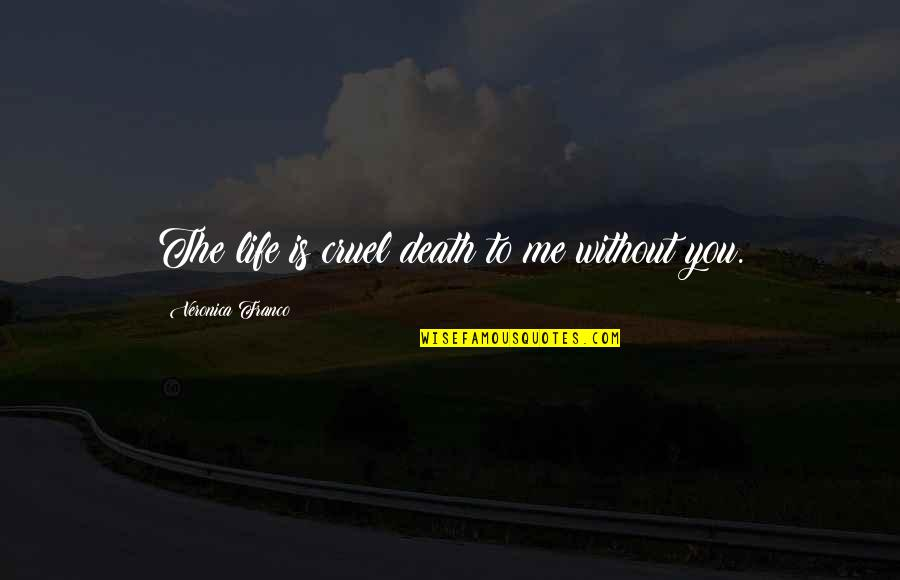 Me Without You Love Quotes By Veronica Franco: The life is cruel death to me without
