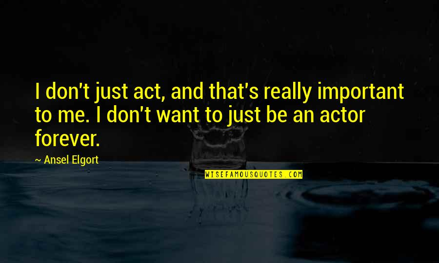 Me You Us Forever Quotes By Ansel Elgort: I don't just act, and that's really important