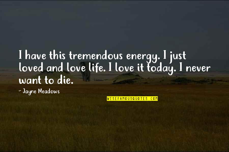 Meadows Quotes By Jayne Meadows: I have this tremendous energy. I just loved