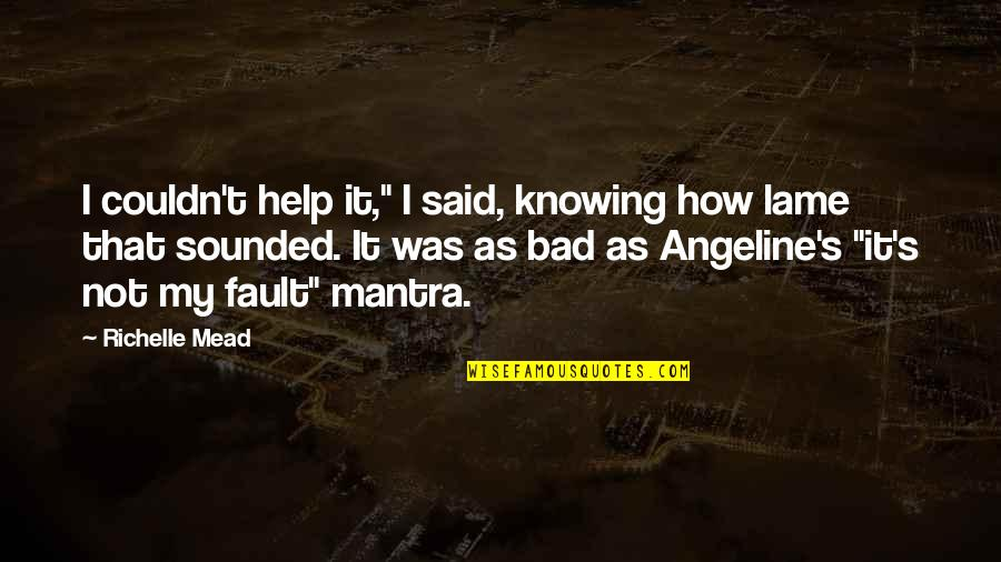 """Mead's Quotes By Richelle Mead: I couldn't help it,"""" I said, knowing how"""