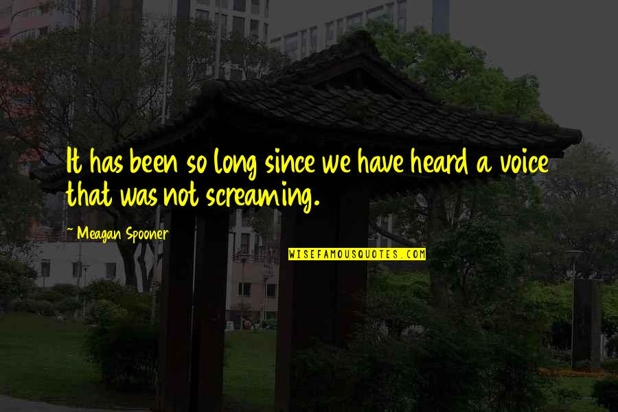 Meagan Quotes By Meagan Spooner: It has been so long since we have