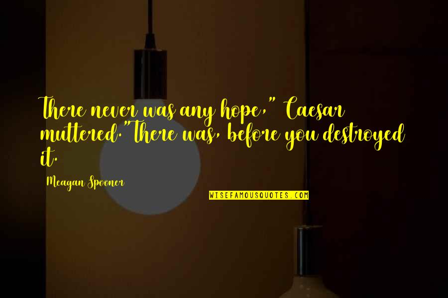 """Meagan Quotes By Meagan Spooner: There never was any hope,"""" Caesar muttered.""""There was,"""
