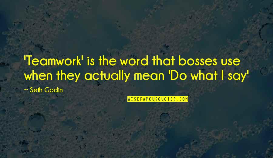 Mean Bosses Quotes By Seth Godin: 'Teamwork' is the word that bosses use when