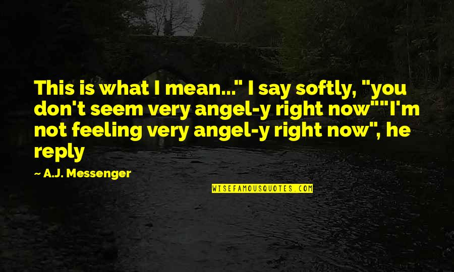 """Mean Quotes And Quotes By A.J. Messenger: This is what I mean..."""" I say softly,"""