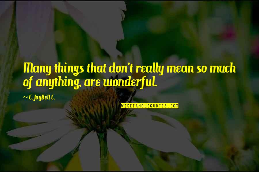 Mean Quotes And Quotes By C. JoyBell C.: Many things that don't really mean so much