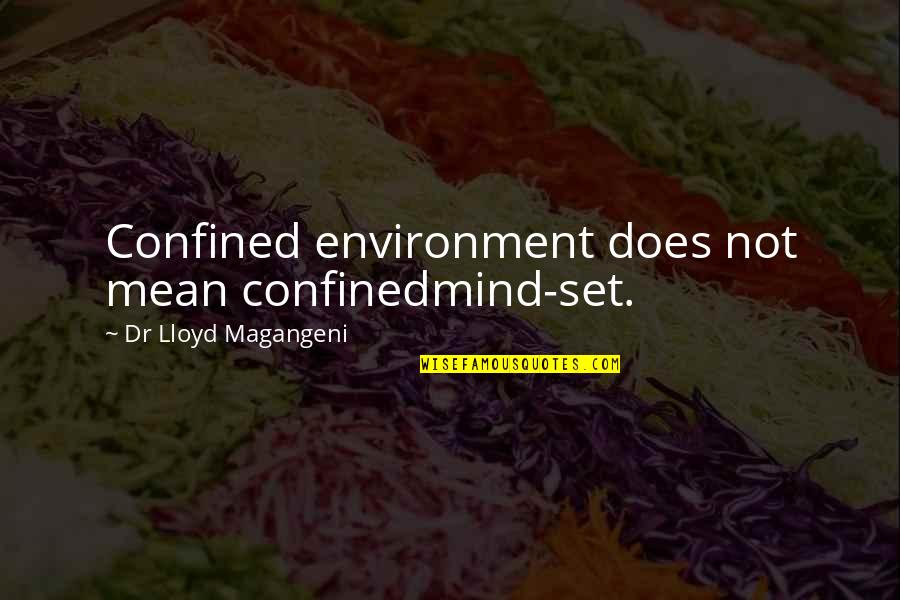 Mean Quotes And Quotes By Dr Lloyd Magangeni: Confined environment does not mean confinedmind-set.
