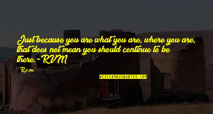 Mean Quotes And Quotes By R.v.m.: Just because you are what you are, where