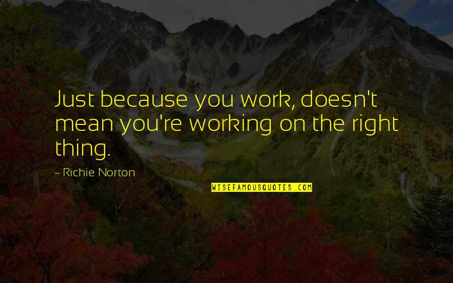 Mean Quotes And Quotes By Richie Norton: Just because you work, doesn't mean you're working