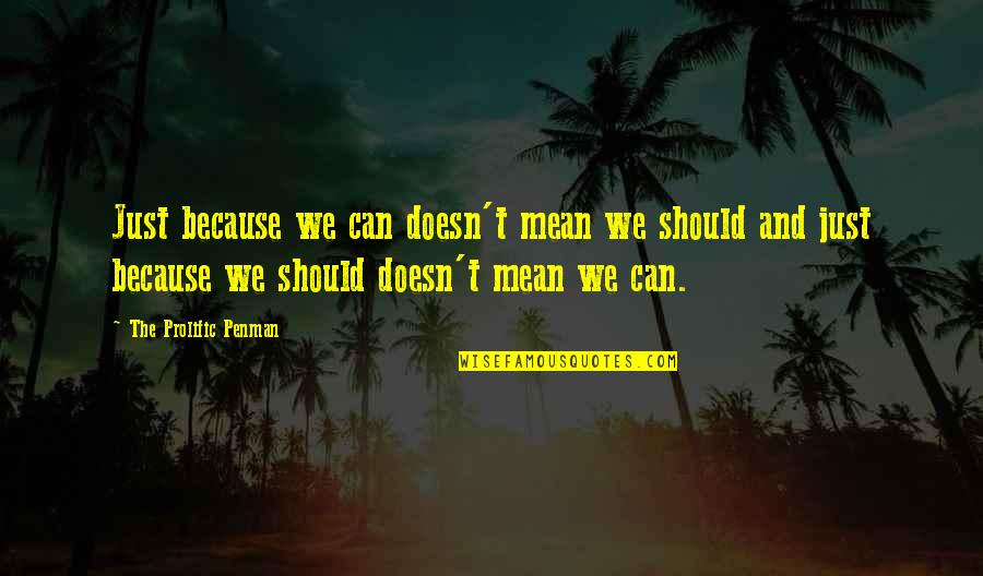 Mean Quotes And Quotes By The Prolific Penman: Just because we can doesn't mean we should
