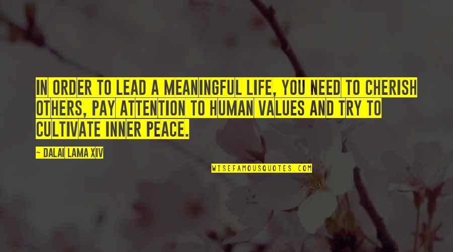 Meaning Of Human Life Quotes By Dalai Lama XIV: In order to lead a meaningful life, you