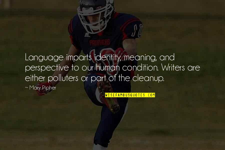 Meaning Of Human Life Quotes By Mary Pipher: Language imparts identity, meaning, and perspective to our