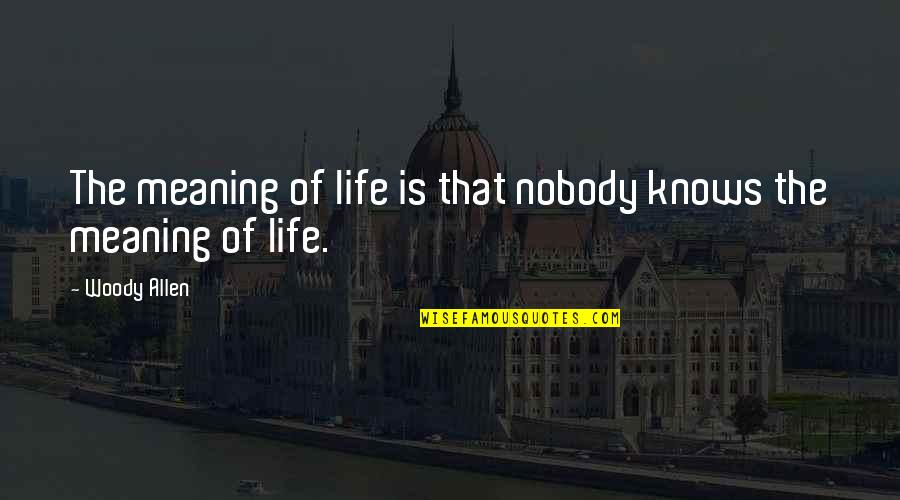 Meaning Of Human Life Quotes By Woody Allen: The meaning of life is that nobody knows