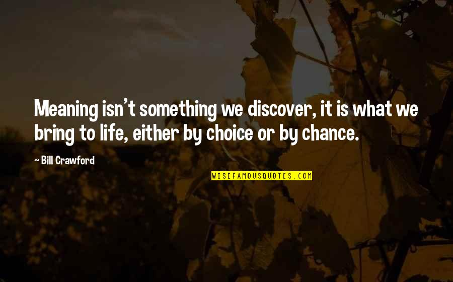 Meaning Something Quotes By Bill Crawford: Meaning isn't something we discover, it is what
