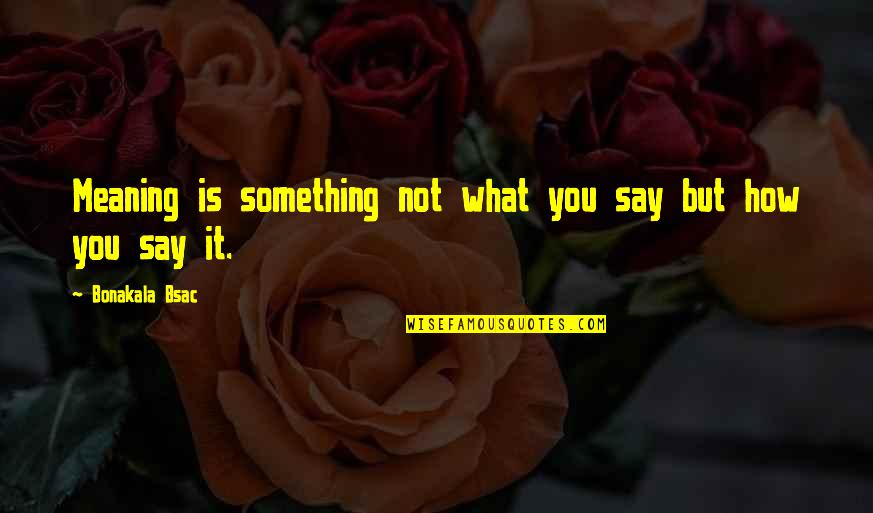 Meaning Something Quotes By Bonakala Bsac: Meaning is something not what you say but