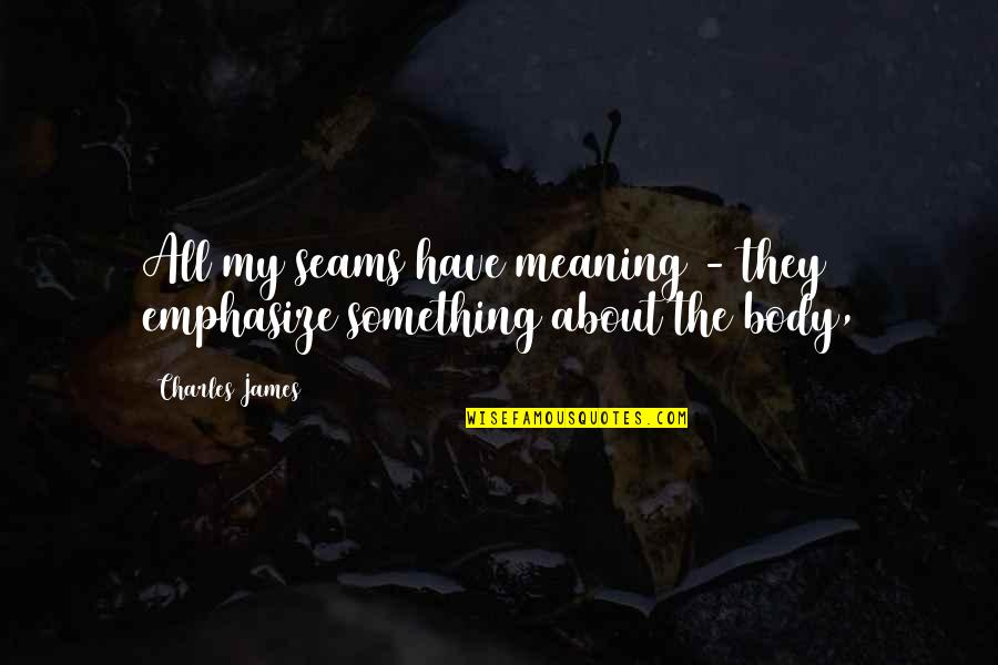 Meaning Something Quotes By Charles James: All my seams have meaning - they emphasize