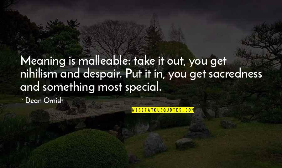 Meaning Something Quotes By Dean Ornish: Meaning is malleable: take it out, you get
