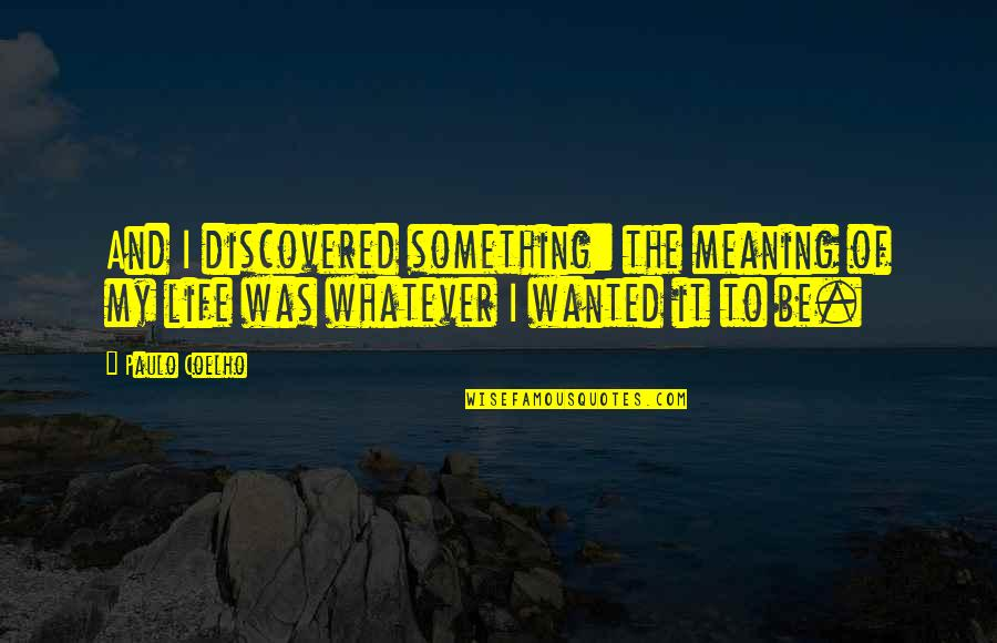 Meaning Something Quotes By Paulo Coelho: And I discovered something: the meaning of my