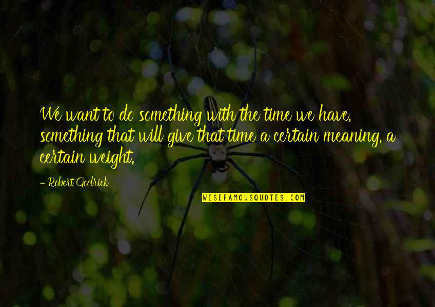 Meaning Something Quotes By Robert Goolrick: We want to do something with the time