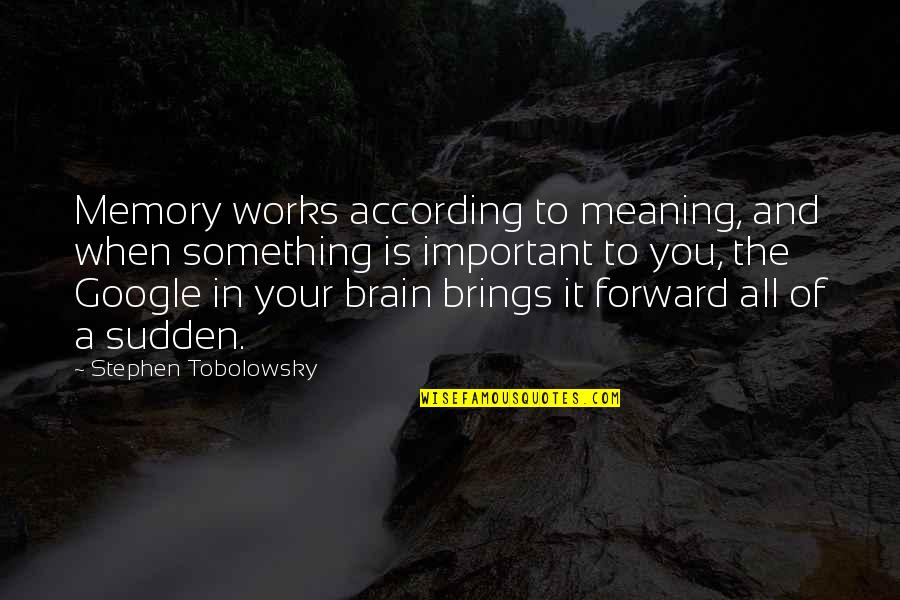 Meaning Something Quotes By Stephen Tobolowsky: Memory works according to meaning, and when something