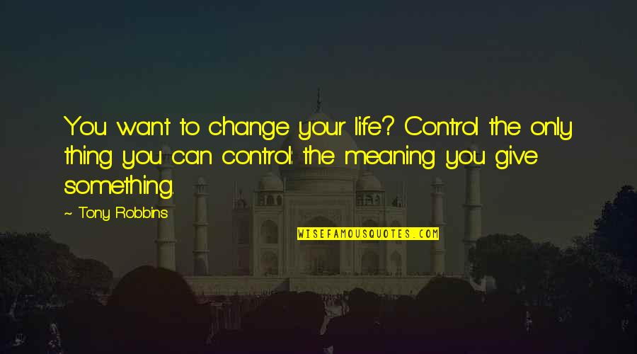 Meaning Something Quotes By Tony Robbins: You want to change your life? Control the