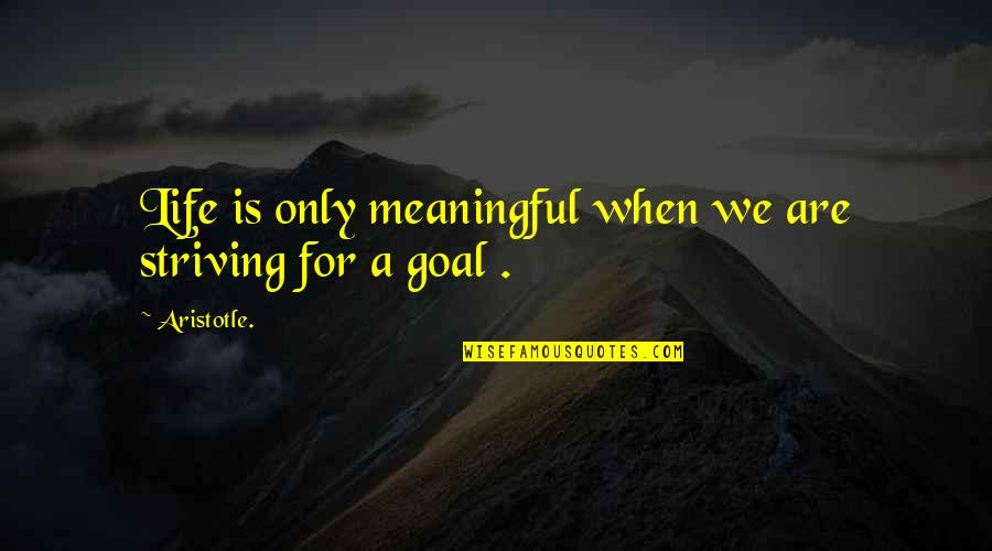 Meaningful Quotes By Aristotle.: Life is only meaningful when we are striving