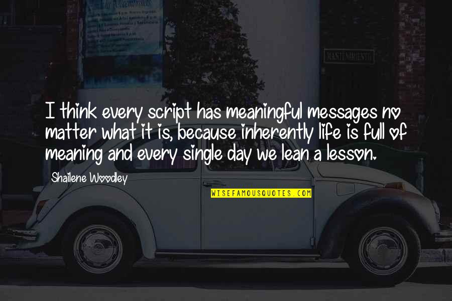 Meaningful Quotes By Shailene Woodley: I think every script has meaningful messages no