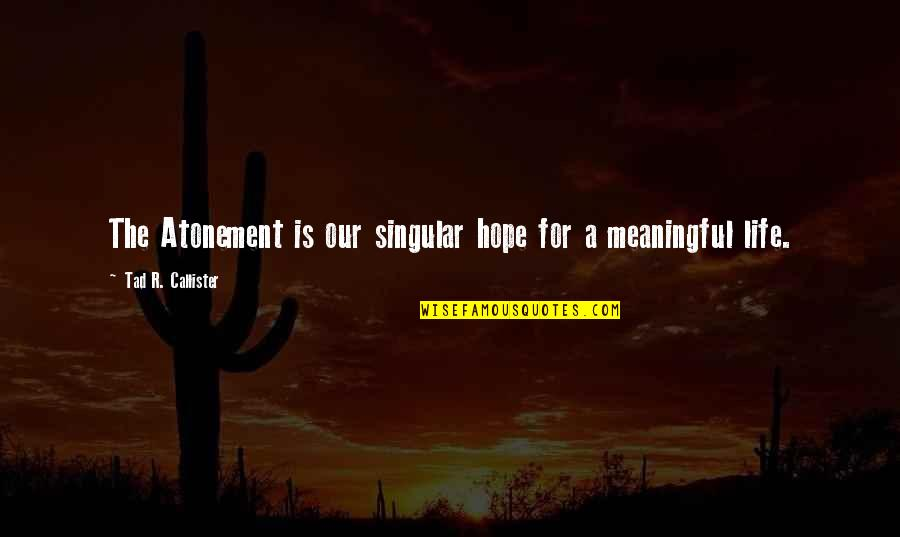 Meaningful Quotes By Tad R. Callister: The Atonement is our singular hope for a