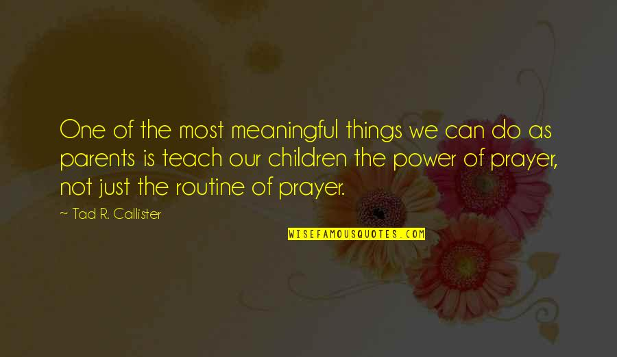 Meaningful Quotes By Tad R. Callister: One of the most meaningful things we can
