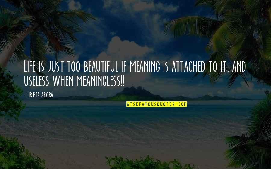 Meaningful Quotes By Tripta Arora: Life is just too beautiful if meaning is