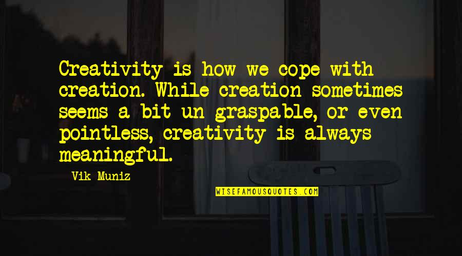 Meaningful Quotes By Vik Muniz: Creativity is how we cope with creation. While