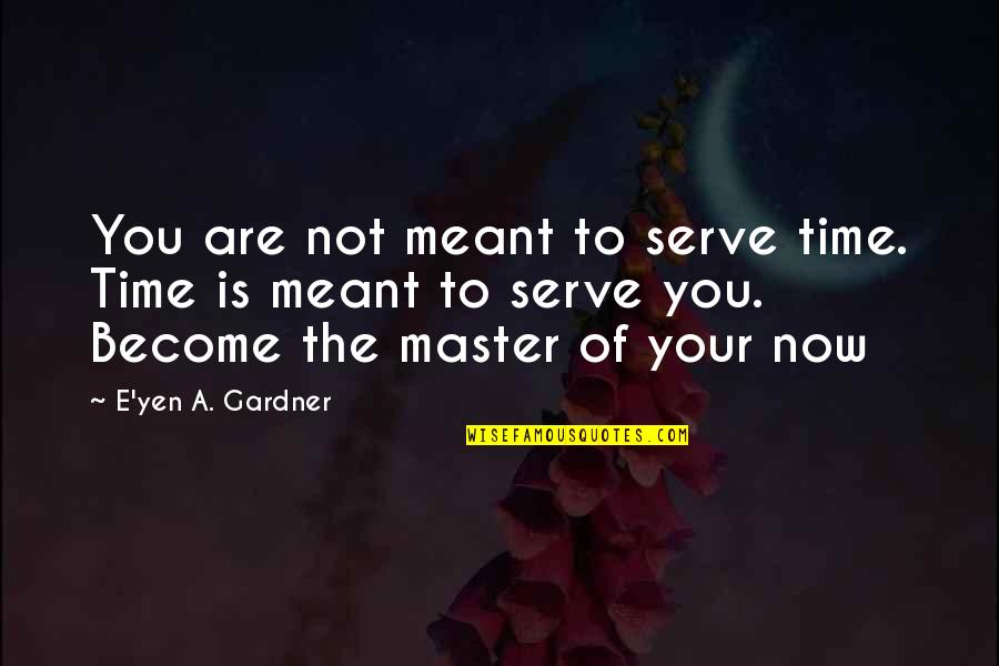 Meant For Each Other Quotes By E'yen A. Gardner: You are not meant to serve time. Time