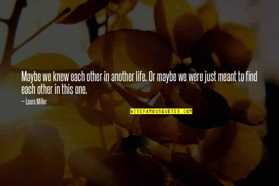 Meant For Each Other Quotes By Laura Miller: Maybe we knew each other in another life.