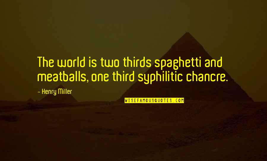 Meatballs 2 Quotes By Henry Miller: The world is two thirds spaghetti and meatballs,