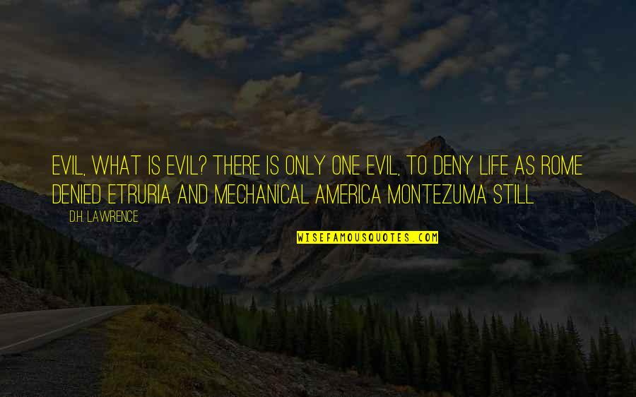 Mechanical Life Quotes By D.H. Lawrence: Evil, what is evil? There is only one