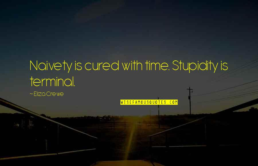Meda Quotes By Eliza Crewe: Naivety is cured with time. Stupidity is terminal.