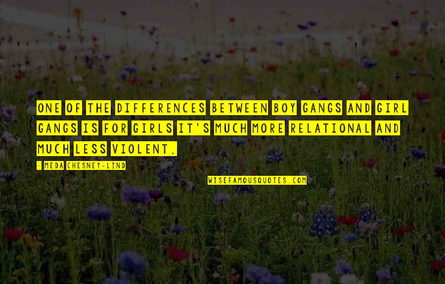 Meda Quotes By Meda Chesney-Lind: One of the differences between boy gangs and