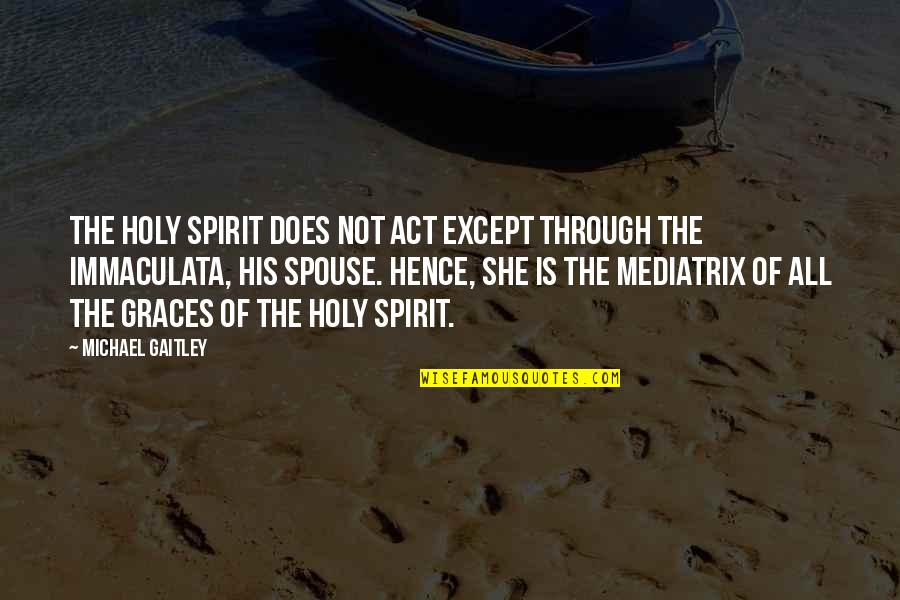 Mediatrix Quotes By Michael Gaitley: The Holy Spirit does not act except through