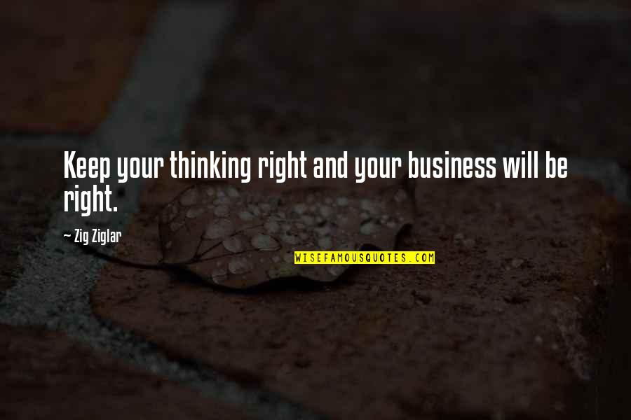 Mediocre Friends Quotes By Zig Ziglar: Keep your thinking right and your business will