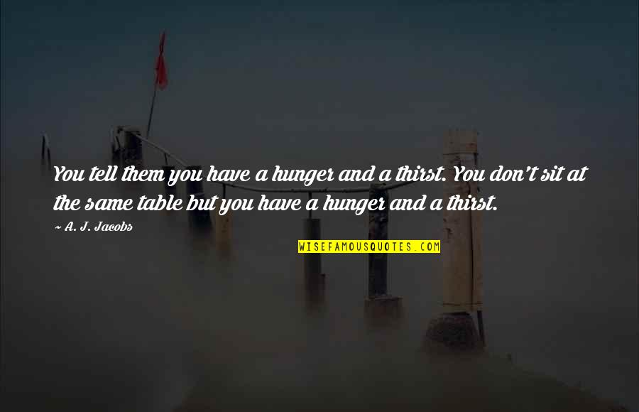 Mediocre Motivation Quotes By A. J. Jacobs: You tell them you have a hunger and