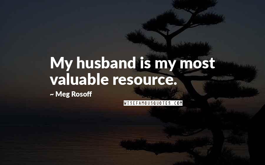 Meg Rosoff quotes: My husband is my most valuable resource.