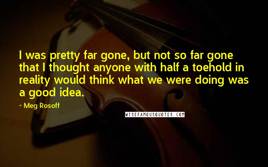 Meg Rosoff quotes: I was pretty far gone, but not so far gone that I thought anyone with half a toehold in reality would think what we were doing was a good idea.
