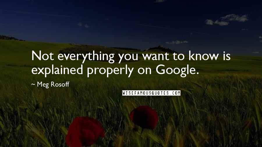 Meg Rosoff quotes: Not everything you want to know is explained properly on Google.