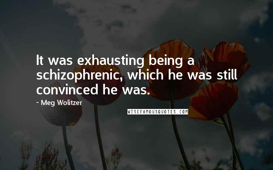 Meg Wolitzer quotes: It was exhausting being a schizophrenic, which he was still convinced he was.