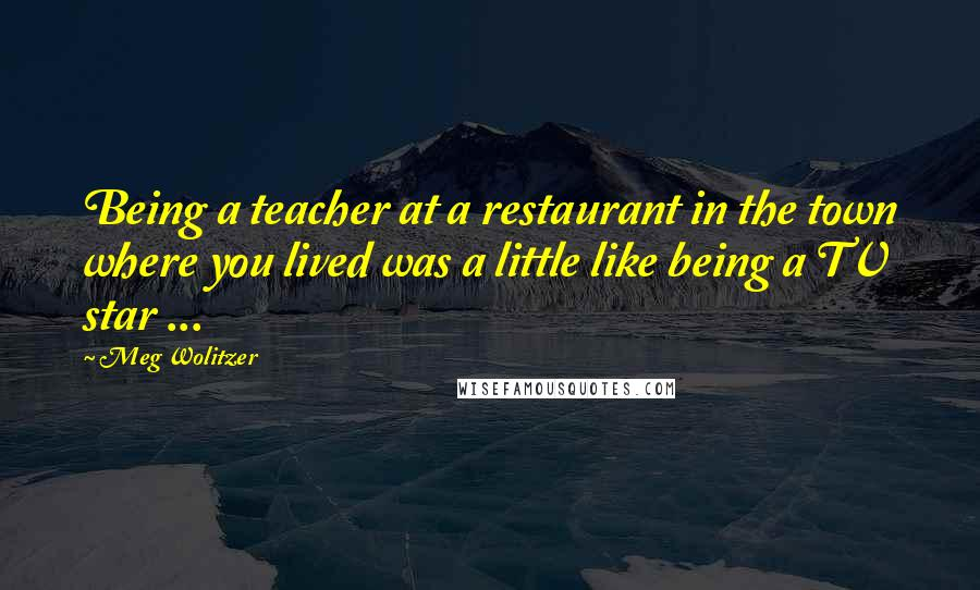 Meg Wolitzer quotes: Being a teacher at a restaurant in the town where you lived was a little like being a TV star ...