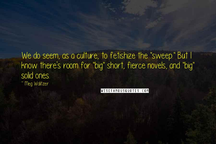 "Meg Wolitzer quotes: We do seem, as a culture, to fetishize the ""sweep."" But I know there's room for ""big"" short, fierce novels, and ""big"" solid ones."