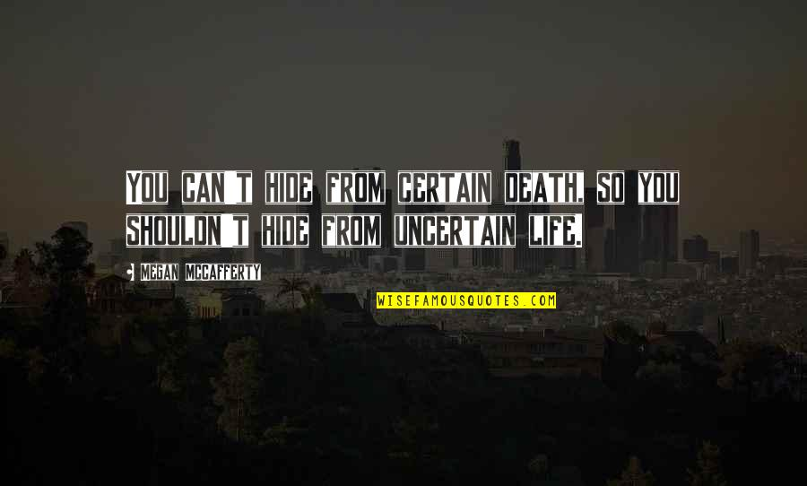 Megan Mccafferty Quotes By Megan McCafferty: You can't hide from certain death, so you