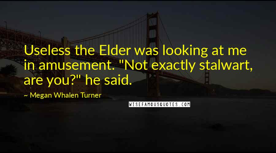 """Megan Whalen Turner quotes: Useless the Elder was looking at me in amusement. """"Not exactly stalwart, are you?"""" he said."""