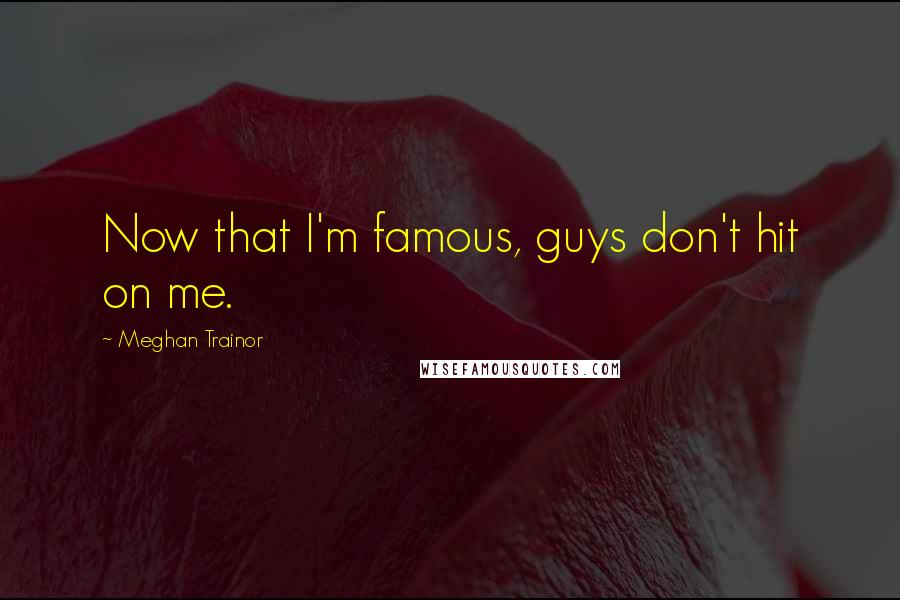 Meghan Trainor quotes: Now that I'm famous, guys don't hit on me.